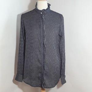 Banana Republic navy blue white pin stripe blouse